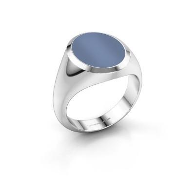 Foto van Zegelring Herman 4 950 platina licht blauwe lagensteen 15x12 mm