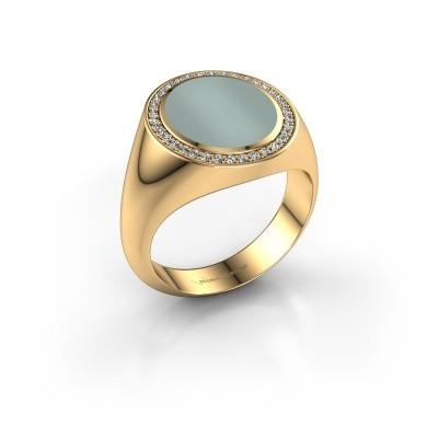 Foto van Zegel ring Adam 3 585 goud groene lagensteen 13x11 mm