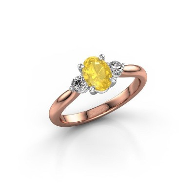 Foto van Verlovingsring Lieselot OVL 585 rosé goud gele saffier 6.5x4.5 mm