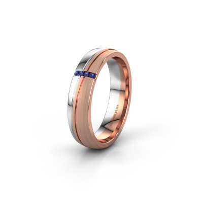 Huwelijksring WH0909L25X 585 rosé goud saffier ±5x1.5 mm