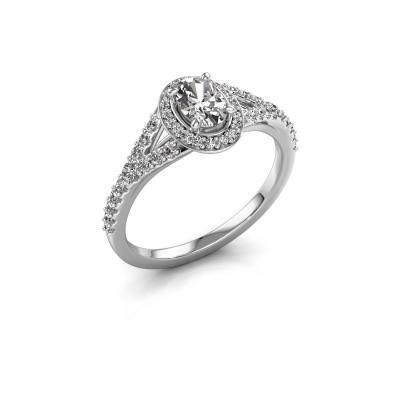 Belofte ring Pamela OVL 585 witgoud zirkonia 7x5 mm