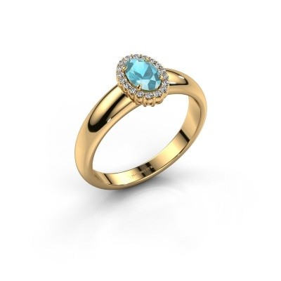 Engagement ring Tamie 375 gold blue topaz 6x4 mm