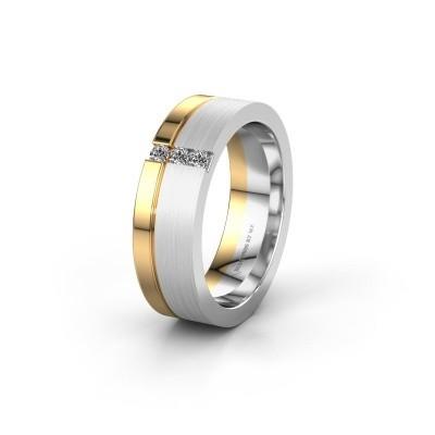 Wedding ring WH0327L16B 585 white gold zirconia ±0.24x0.08 in