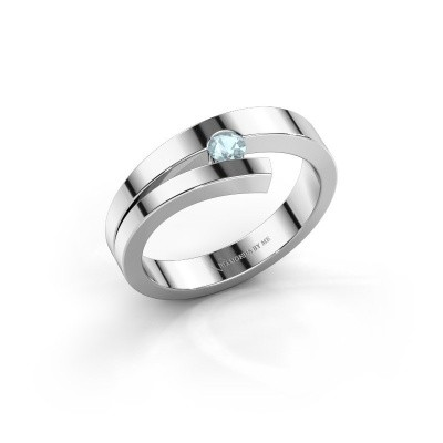 Ring Rosario 925 zilver aquamarijn 3 mm