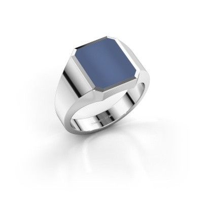 Picture of Signet ring Lars 2 585 white gold blue sardonyx 12x10 mm