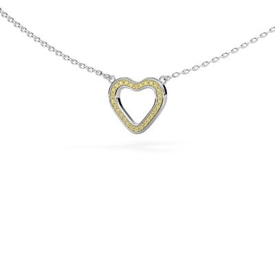 Hanger Heart 3 925 zilver gele saffier 0.8 mm