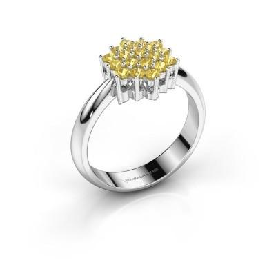Ring Bente 585 witgoud gele saffier 1.9 mm