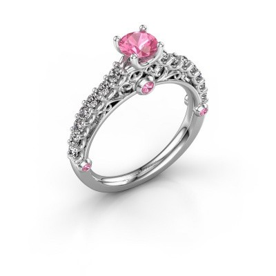 Foto van Verlovingsring Shaunda 585 witgoud roze saffier 5 mm