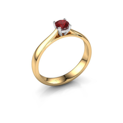 Engagement ring Sam 585 gold ruby 4.2 mm