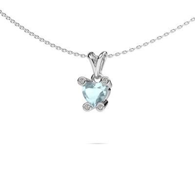 Picture of Necklace Cornelia Heart 950 platinum aquamarine 6 mm