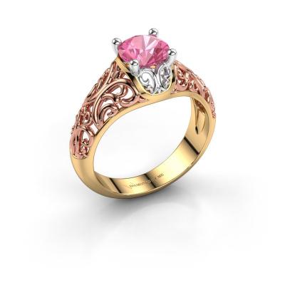 Ring Mirte 585 goud roze saffier 6.5 mm