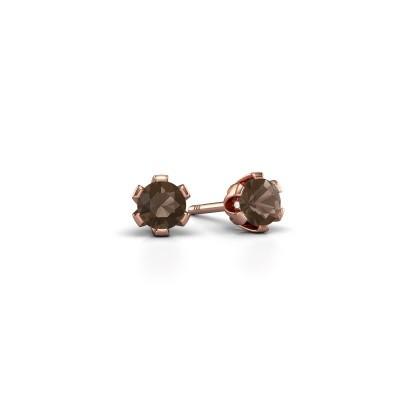 Picture of Stud earrings Julia 375 rose gold smokey quartz 4 mm