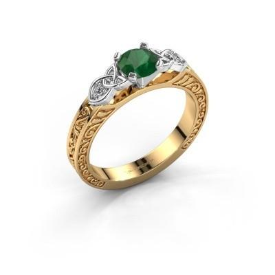 Foto van Verlovingsring Gillian 585 goud smaragd 5 mm