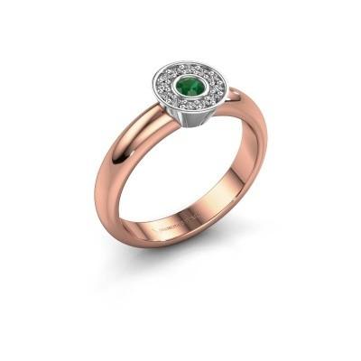 Foto van Ring Fiene 585 rosé goud smaragd 2.8 mm