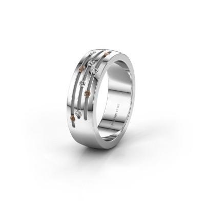Trouwring WH0134L26B 925 zilver bruine diamant ±6x2 mm