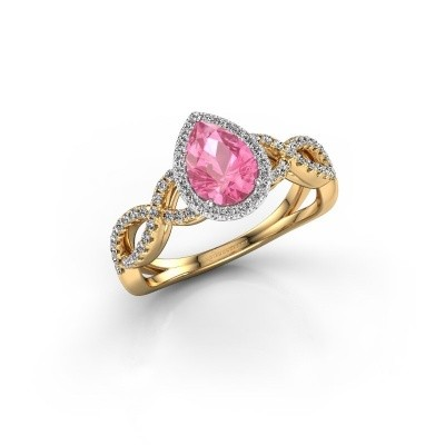 Verlovingsring Dionne pear 585 goud roze saffier 7x5 mm