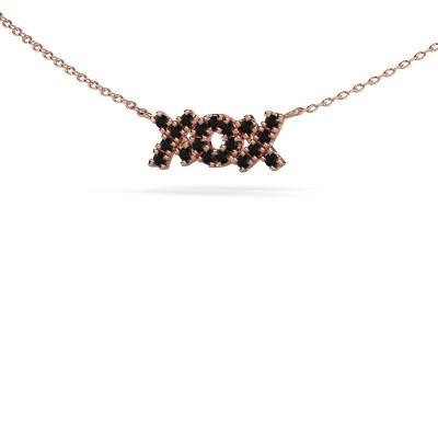 Foto van Ketting XoX 375 rosé goud zwarte diamant 0.342 crt