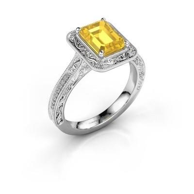 Verlovings ring Alice EME 585 witgoud gele saffier 7x5 mm