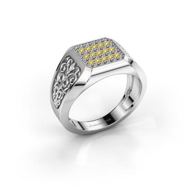 Herrenring Amir 585 Weißgold Gelb Saphir 1.4 mm