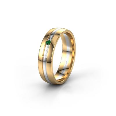 Trouwring WH0420L25X 585 goud smaragd ±5x1.5 mm