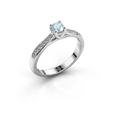 Picture of Engagement ring Mia 2 585 white gold aquamarine 4.2 mm