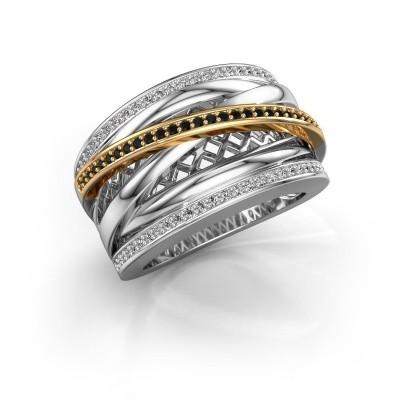 Foto van Ring Tabita 585 witgoud zwarte diamant 0.432 crt