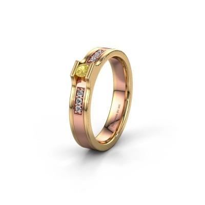 Trouwring WH2110L14A 585 rosé goud gele saffier ±4x1.7 mm
