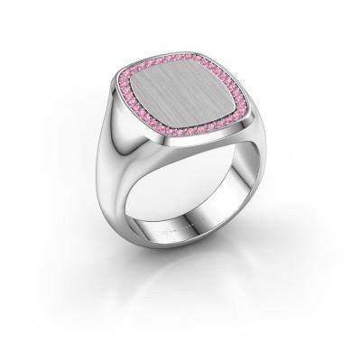 Heren ring Floris Cushion 4 375 witgoud roze saffier 1.2 mm