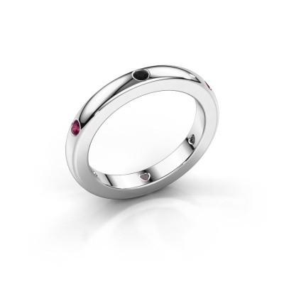 Stackable ring Charla 375 white gold black diamond 0.108 crt