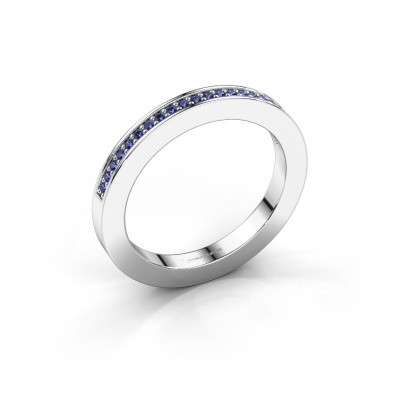 Stackable ring Loes 2 585 white gold sapphire 1.1 mm