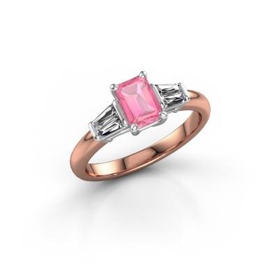 Foto van Verlovingsring Kina EME 585 rosé goud roze saffier 6.5x4.5 mm