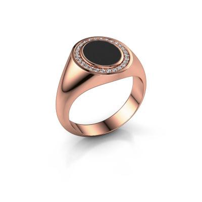 Foto van Pinkring Adam 1 375 rosé goud zwarte emaille 10x8 mm