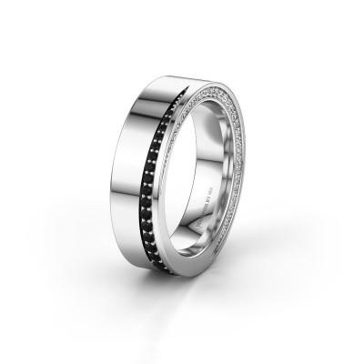 Trouwring WH1002L15DP 585 witgoud zwarte diamant ±6x2.3 mm