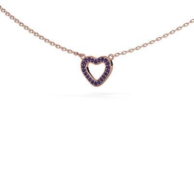 Pendentif Heart 4 375 or rose saphir 0.8 mm
