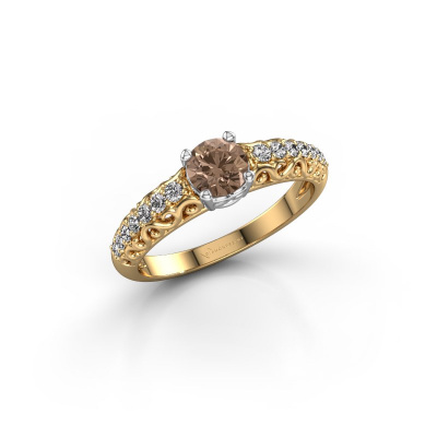 Picture of Engagement ring Mellie 585 gold brown diamond 0.72 crt