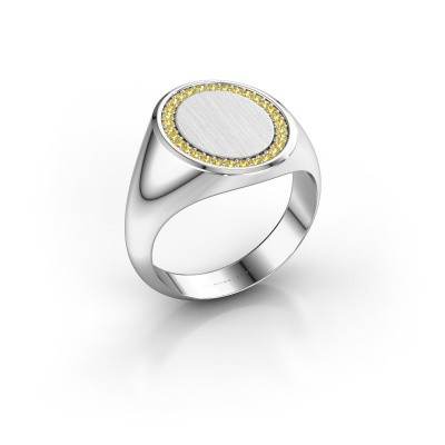 Men's ring Floris Oval 4 925 silver yellow sapphire 1.2 mm