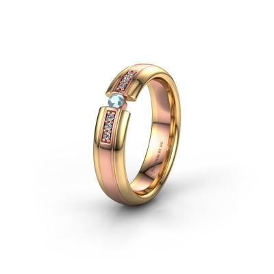 Trouwring WH2128L26C 585 rosé goud aquamarijn ±5x2 mm