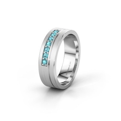 Trouwring WH0312L16AM 925 zilver blauw topaas ±6x1.7 mm