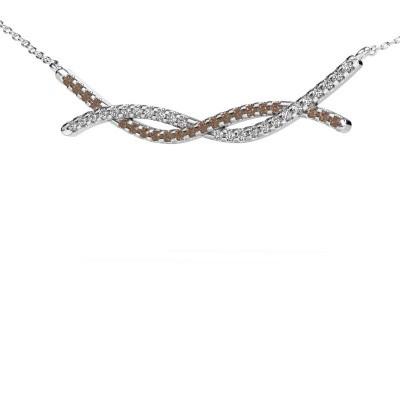 Bar ketting Breanne 925 zilver bruine diamant 0.338 crt