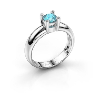 Ring Fleur 585 witgoud blauw topaas 4.7 mm