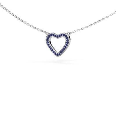 Hanger Heart 3 925 zilver saffier 0.8 mm