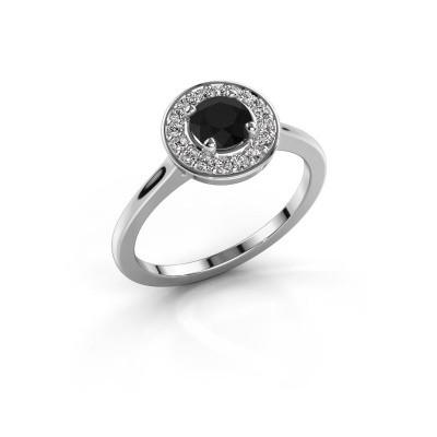 Ring Agaat 1 585 witgoud zwarte diamant 0.76 crt