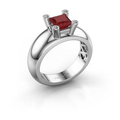 Ring Cornelia Square 925 silver ruby 5 mm