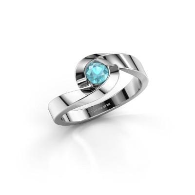 Foto van Ring Sheryl 585 witgoud blauw topaas 4 mm