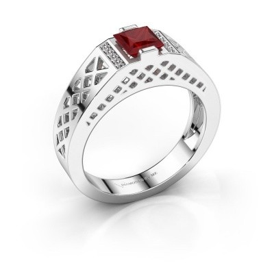 Foto van Heren ring Jonathan 925 zilver robijn 5 mm