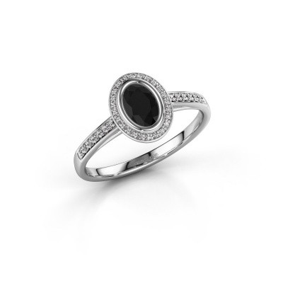 Photo de Bague de fiançailles Noud 2 OVL 585 or blanc diamant noir 0.74 crt