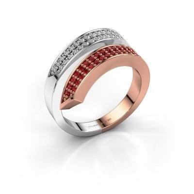 Foto van Ring Pien 585 rosé goud robijn 1.2 mm