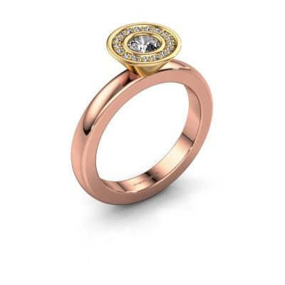 Foto van Stapelring Danille 585 rosé goud diamant 0.335 crt