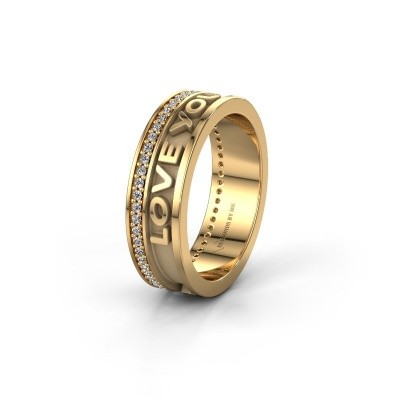 Trouwring namering 2 585 goud ±6x2 mm