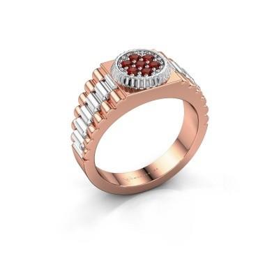 Foto van Heren ring Nout 585 rosé goud granaat 2 mm